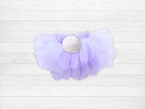 Girl's Easter Lavender Chiffon Bloomers w/ Bunny Tail
