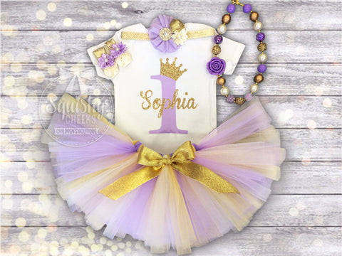 Girl's Lavender and Gold Princess Birthday Outfit