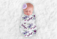 Girl's Personalized Purple Floral Swaddle Blanket