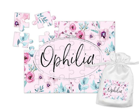 Girl's Personalized Pink Floral Puzzle
