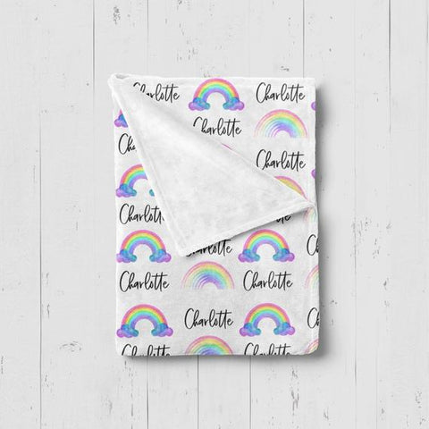 Girl's Personalized Watercolor Rainbow Blanket