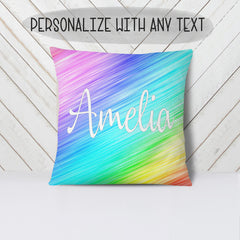Girl's Personalized Rainbow Plush Pillow