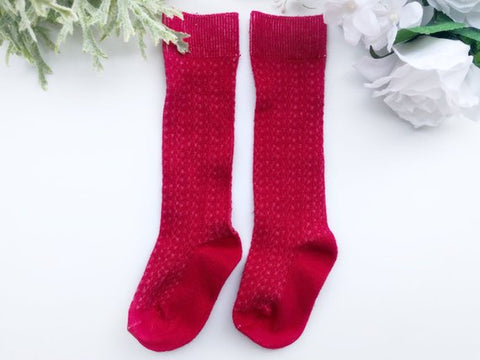 Red Cable Knit Knee High Socks