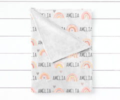 Girl's Personalized Neutral Rainbow Swaddle Blanket