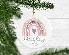 Girls Personalized Rainbow Christmas Ornament