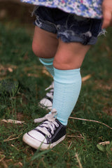 Pastel Cable Knit Knee High Socks