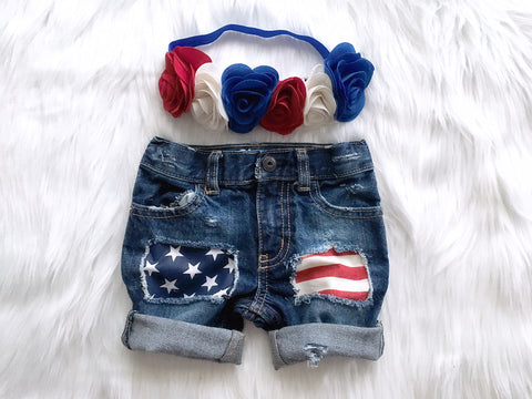 Girl's or Boy's Patriotic Denim Shorts