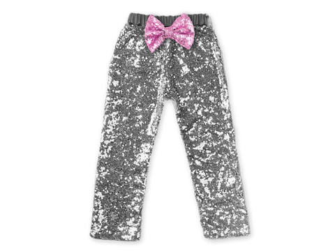 Girl's Silver Sequin Pants