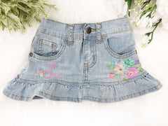 Squishy Cheeks Floral Denim Skirt