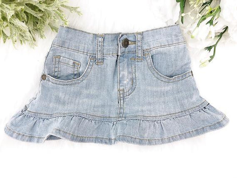 Squishy Cheeks Light Wash Denim Skirt