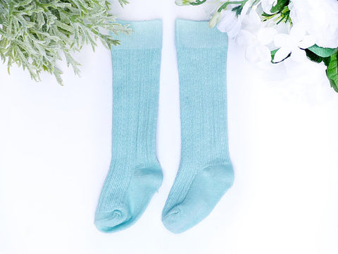 Seafoam Cable Knit Knee High Socks
