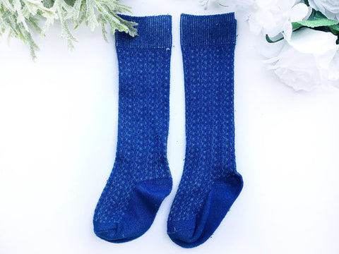 Royal Blue Cable Knit Knee High Socks