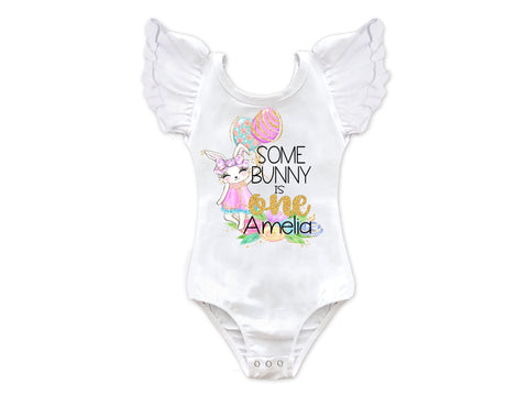 Girl's Personalized Some Bunny Is One Birthday Leotard