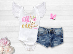 Girl's Personalized Some Bunny Is One Birthday Outfit
