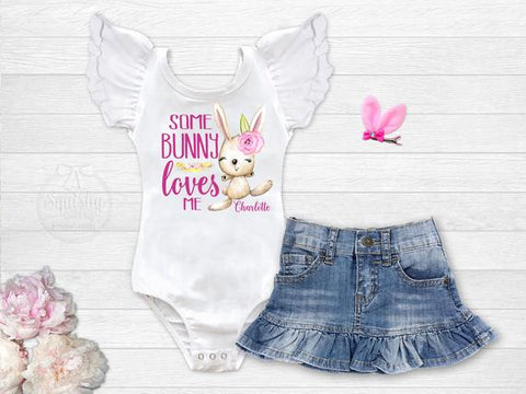 Girl's Personalized Some Bunny Loves Me Outfit