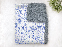 Personalized Blue Outer Space Swaddle Blanket