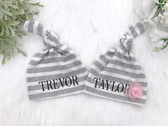 Personalized Grey And White Stripe Knotted Hat