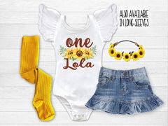 Girl's Personalized Sunflower Birthday Outfit