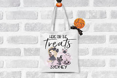 Girl's Personalized Here for the Treats Trick or Treat Bag