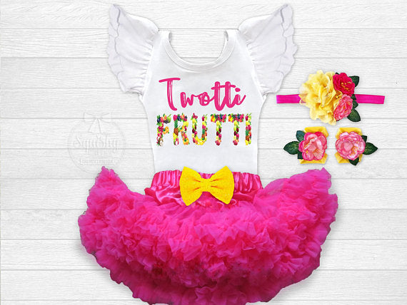 fc05f9cb2 Girl's Twotti Frutti 2nd Birthday Outfit – Squishy Cheeks