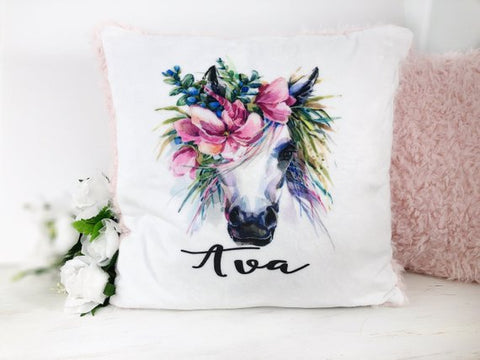 Girl's Personalized Unicorn Plush Pillow