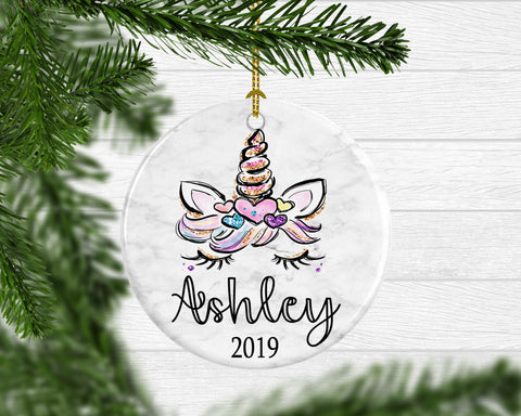 Girl's Personalized Unicorn Christmas Ornament