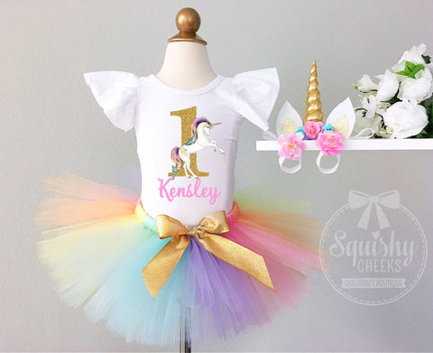 Girl's Rainbow Unicorn Birthday Outfit