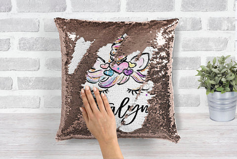 Girl's Personalized Unicorn Rose Gold Sequin Pillow