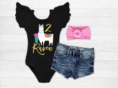 Girl's Personalized Llama Birthday Outfit