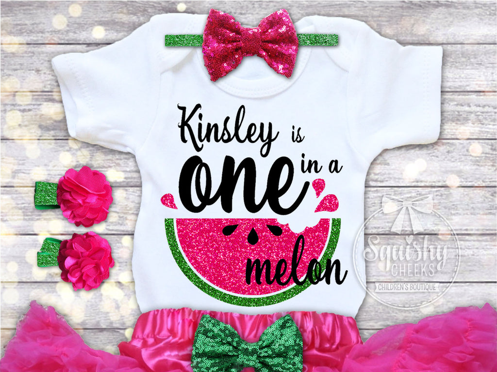 One In A Melon Birthday Top Squishy Cheeks
