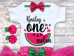 Girls One in a Melon Watermelon Birthday Top