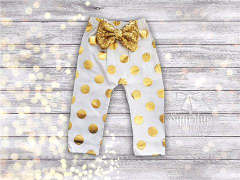 White and Gold Polka Dot Baby Leggings