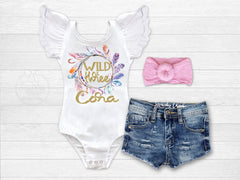 Girl's Personalized Wild and Three Birthday Outfit