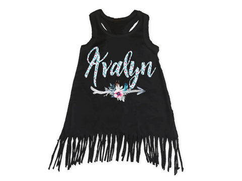 Girl's Personalized Arrow Fringe Dress