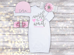New Baby Girl Worth the Wait Gown Set