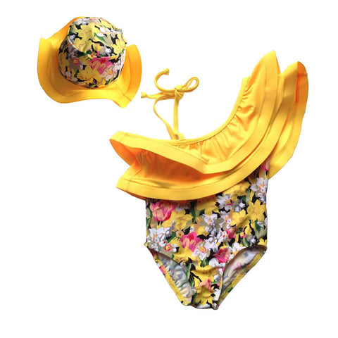 Yellow Floral One Shoulder Ruffled Swimsuit w/ Hat