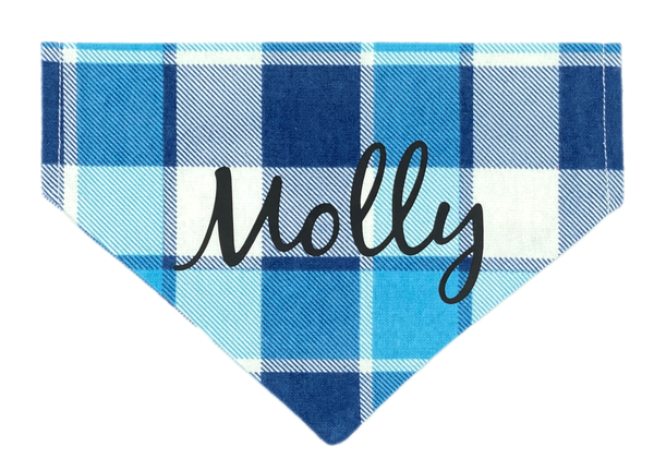 Blue Large Plaid Personalized Bandana