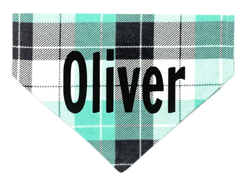 Aqua Plaid Personalized Bandana