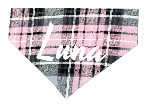 Pink & Gray Plaid Personalized Bandana