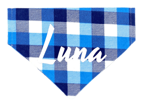 Blue Small Plaid Personalized Bandana