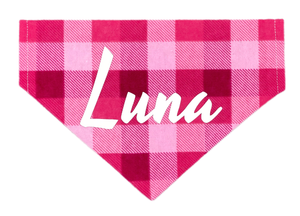 Pink Plaid Personalized Bandana