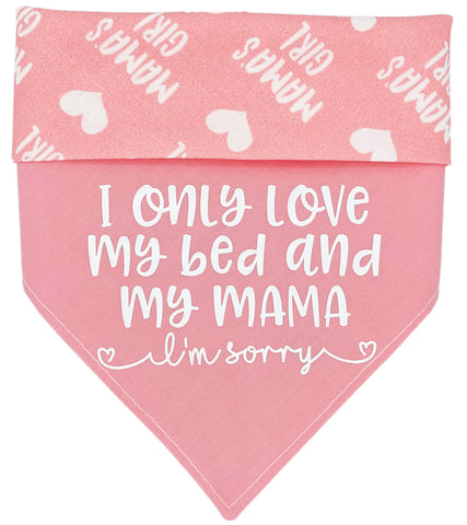 I Only Love My Bed - Pink Reversible Dog Bandana