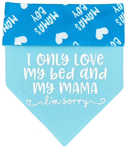 I Only Love My Bed - Blue Reversible Dog Bandana