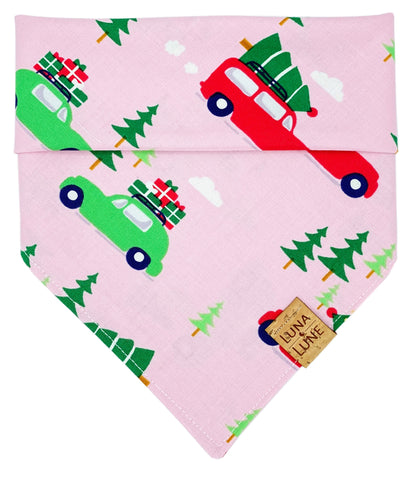 Christmas Car Pink Dog Bandana