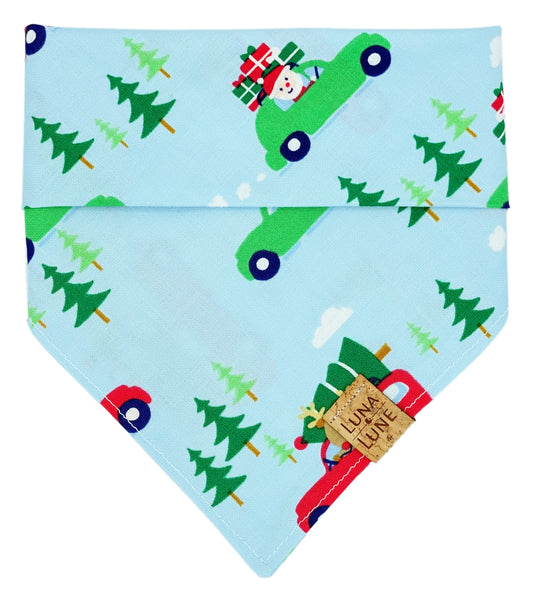 Christmas Car Blue Dog Bandana