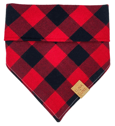 Red and Black Plaid Dog Bandana