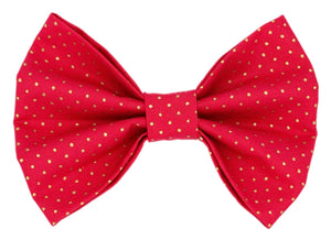 Red with Gold Polka Dot Bow Tie