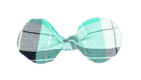 Aqua Plaid Bow