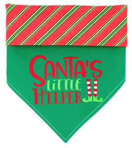 Santa's Little Helper Reversible Dog Bandana