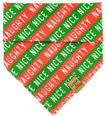 Naughty and Nice Dog Bandana
